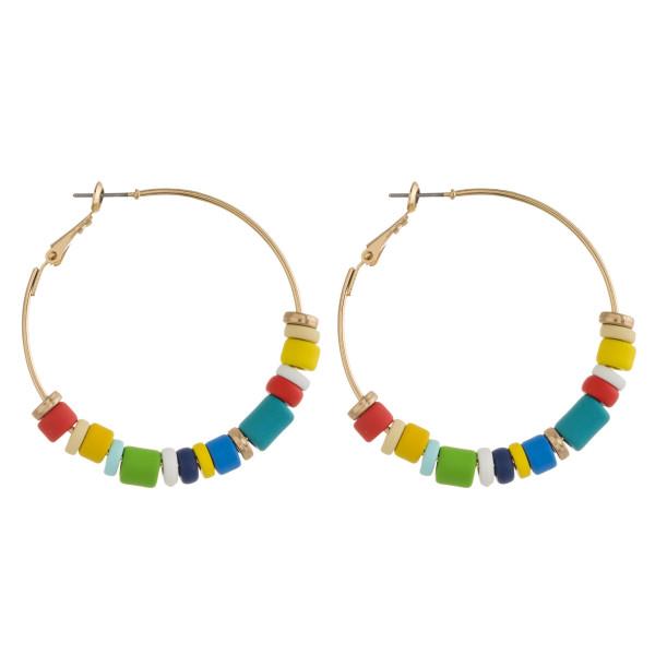 """Gold hoop color block earrings. Approximately 2"""" in diameter."""