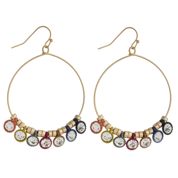 "Round metal earrings with enamel disc rhinestone accents and gold bead details. Approximately 2.5"" in length."