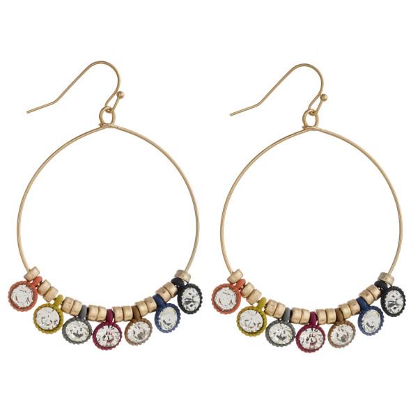 "Rhinestone encased beaded dangle earrings. Approximately 2.25"" in length."