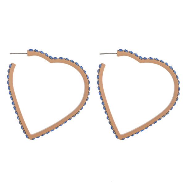 """Large heart hoop earring with blue rhinestone details. Approximately 3"""" in length."""
