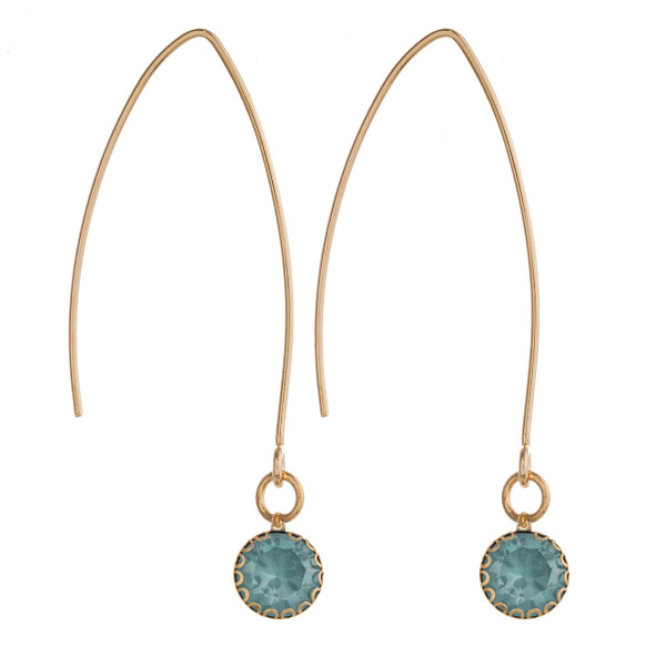 """Threaded drop earrings with rhinestone accents. Approximately 2"""" in length."""