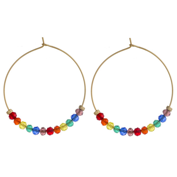 """Gold hoop earrings with multicolor faceted iridescent beaded details. Approximately 1.5"""" in diameter."""