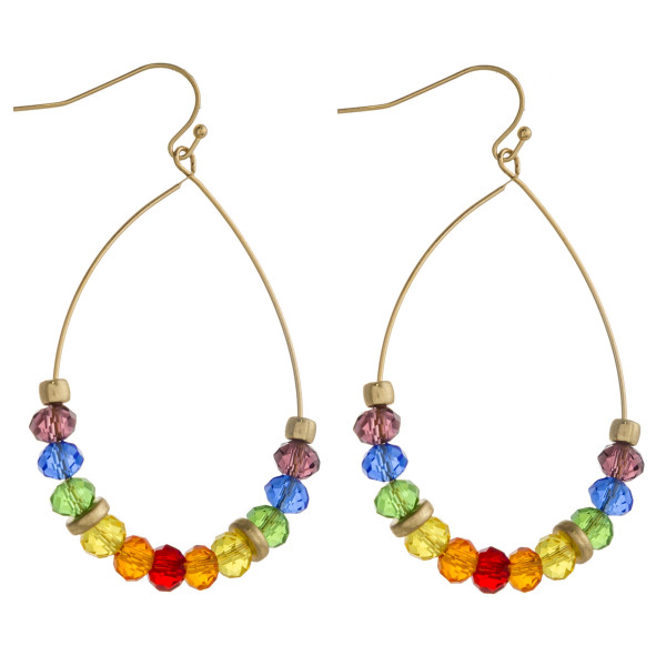 "Gold teardrop earrings with multicolor faceted iridescent beaded details. Approximately 2"" in length."