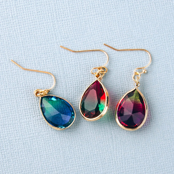 """Multicolor iridescent teardrop earrings. Approximately 1"""" in length."""
