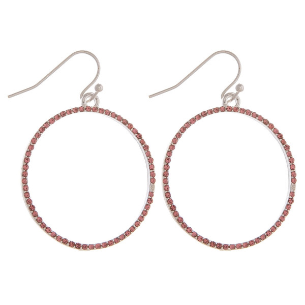 "Dainty circular drop earrings featuring cubic zirconia details. Approximately 1.5"" in diameter."
