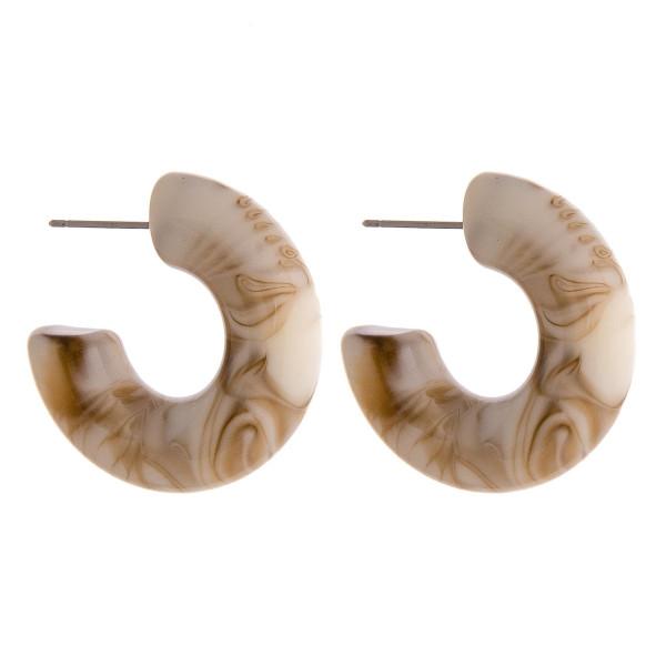 """Acrylic marble hoop earrings. Approximately 1"""" in diameter."""