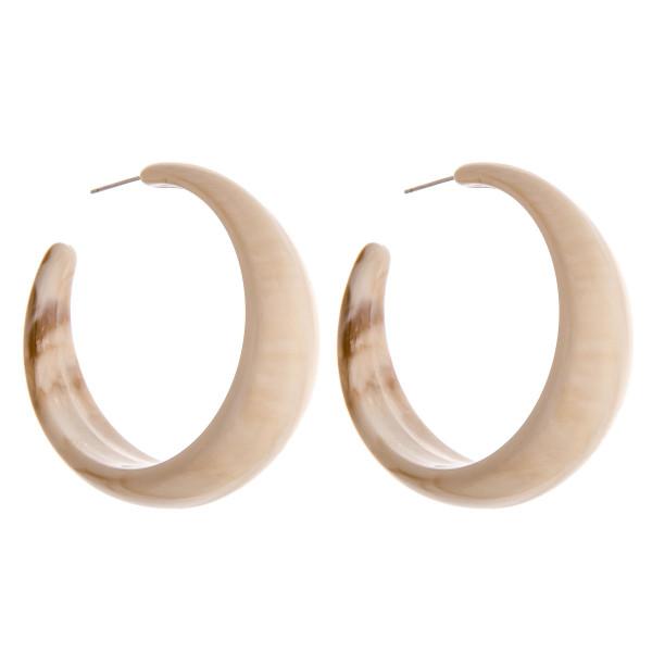 """Acrylic marble wide hoop earrings. Approximately 2"""" in diameter."""