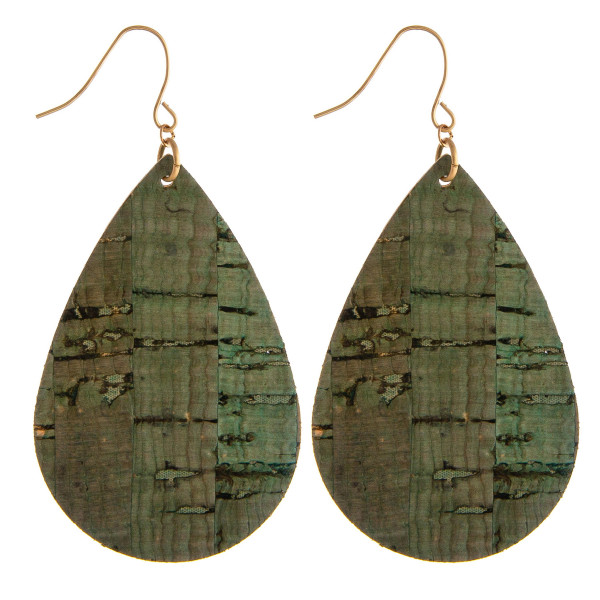 """Cork inspired teardrop earrings. Approximately 2"""" in length."""