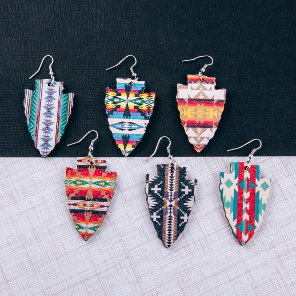 """Wood inspired arrowhead earrings featuring western print pattern details. Approximately 2"""" in length."""