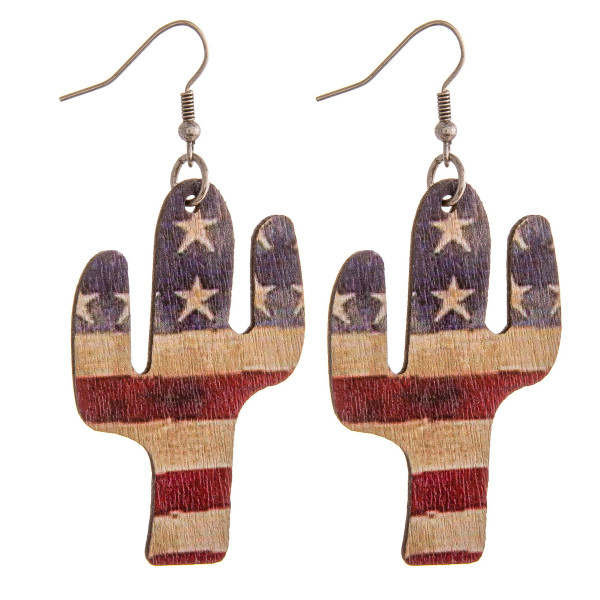 """Wood inspired cactus earrings featuring American Flag details. Approximately 2"""" in length."""