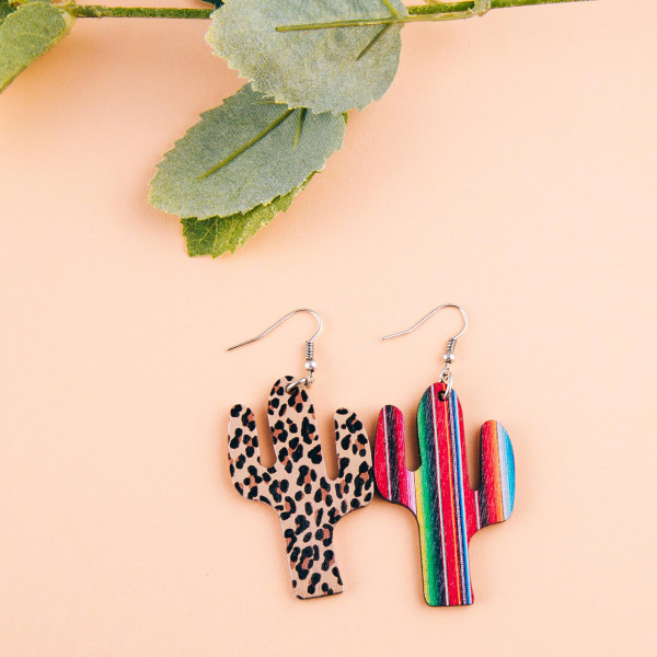 """Wood inspired cactus earrings featuring multicolor striped details. Approximately 2"""" in length."""