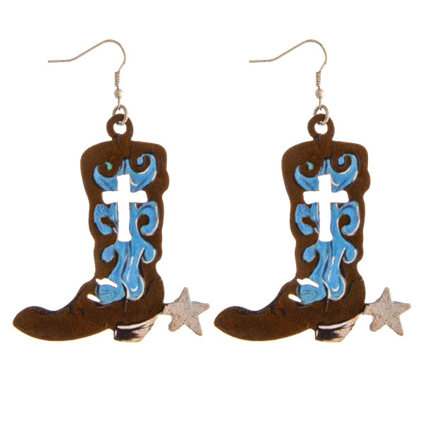 "Metal boot earrings featuring cross details. Approximately 3"" in length."