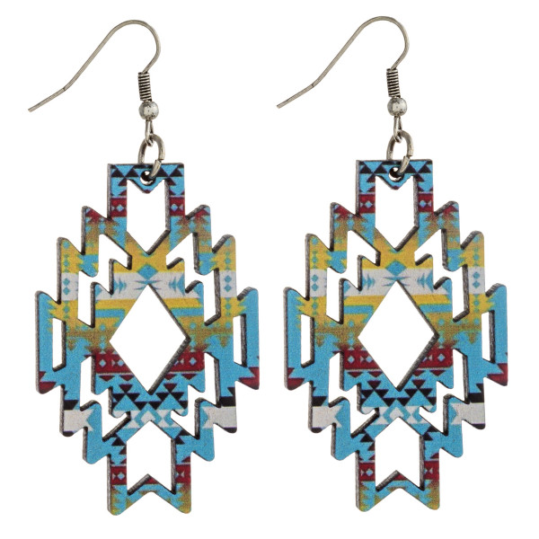 "Wood inspired native earrings with western pattern details. Approximately 2.5"" in length."