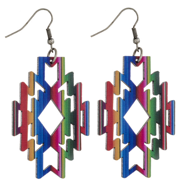 "Wood inspired native earrings with multicolor stripe details. Approximately 2.5"" in length."