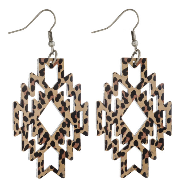 "Wood inspired native earrings with leopard print details. Approximately 2.5"" in length."