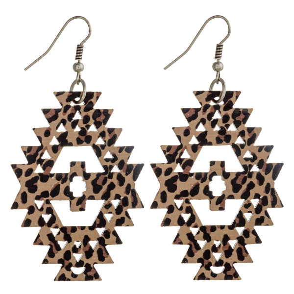 """Wood inspired native earrings with leopard print details. Approximately 2.5"""" in length."""