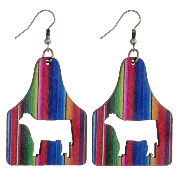 """Wood inspired cut out cow tag earrings featuring multicolor stripe details. Approximately 2.5"""" in length."""