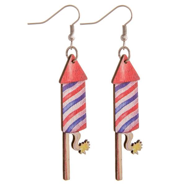 "Wood inspired Americana firework earrings. Approximately 2.5"" in length."
