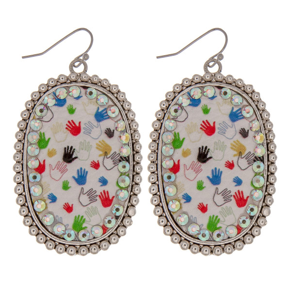 Wholesale metal drop earrings faux leather helping hands print center detail rhi