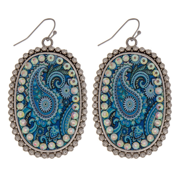 Wholesale metal drop earrings faux leather blue paisley print center detail rhin