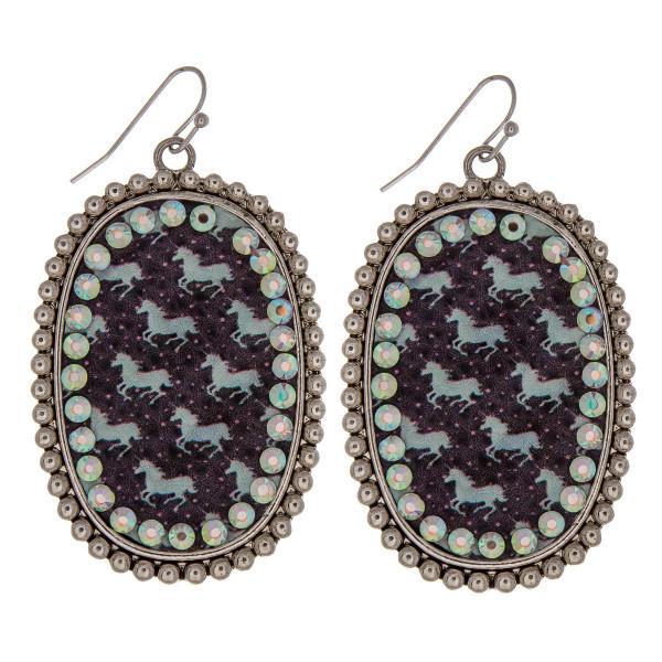 Wholesale metal drop earrings faux leather western horse print center detail rhi