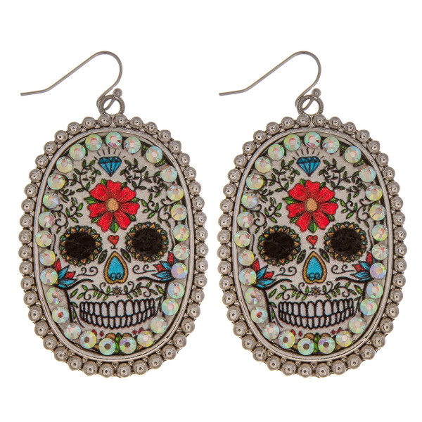 Wholesale metal drop earrings faux leather sugar skull print center detail rhine