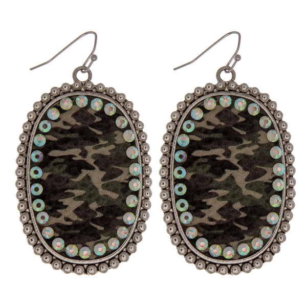 Wholesale metal drop earrings faux leather camouflage print center detail rhines