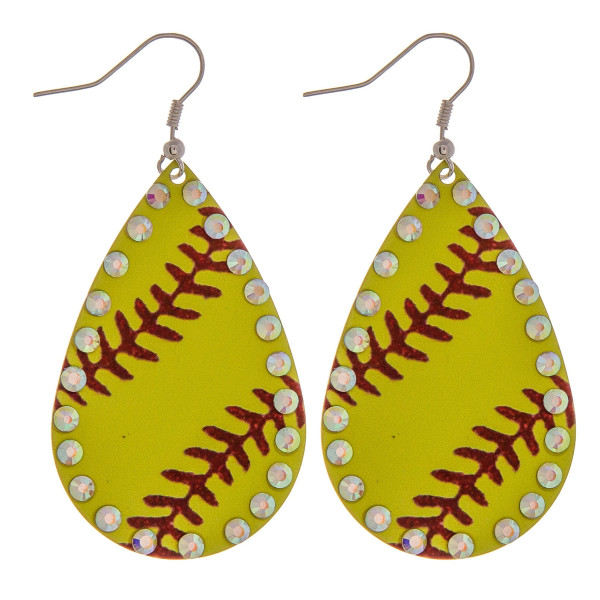 Wholesale metal softball drop earrings rhinestone accents