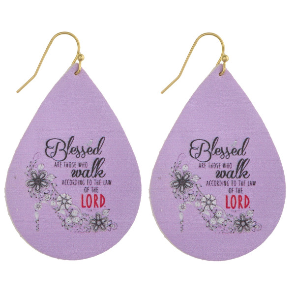 "Faux leather teardrop earrings with ""Blessed are those who walk according to the Law of the Lord"" inspiring message. Approximately 2"" in length."