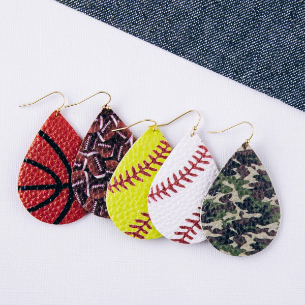"Faux leather softball teardrop earrings. Approximately 2"" in length."