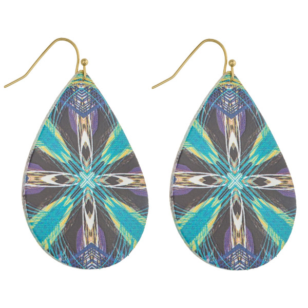 "Faux leather teardrop earrings with a geometric cross pattern. Approximately 2"" in length."