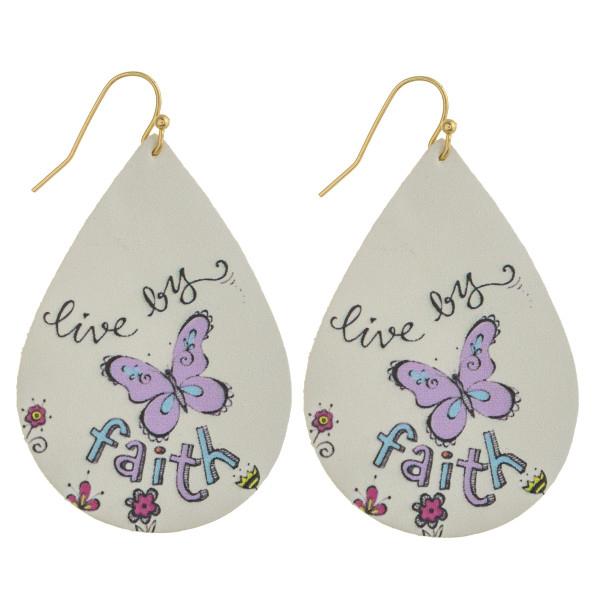 "Faux leather teardrop earrings with ""Live by Faith"" inspiring message. Approximately 2"" in length."