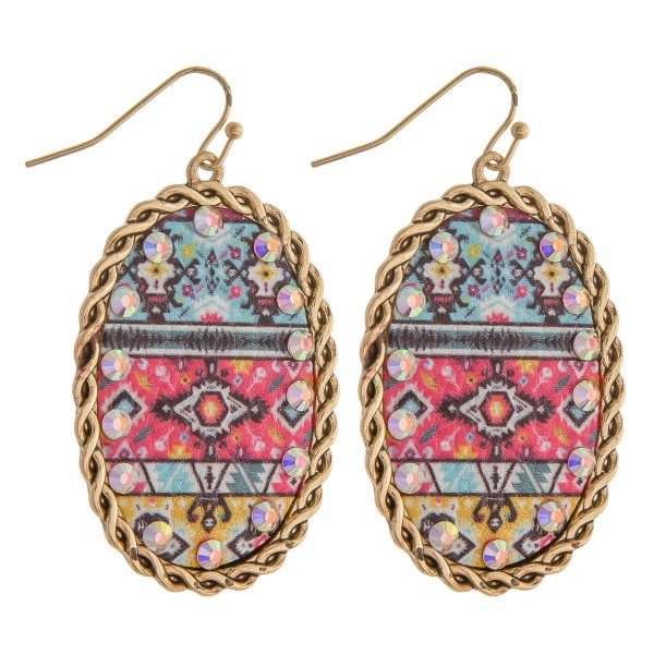 """Faux leather tribal printed rhinestone metal drop earrings.  - Approximately 2.5"""" in length"""