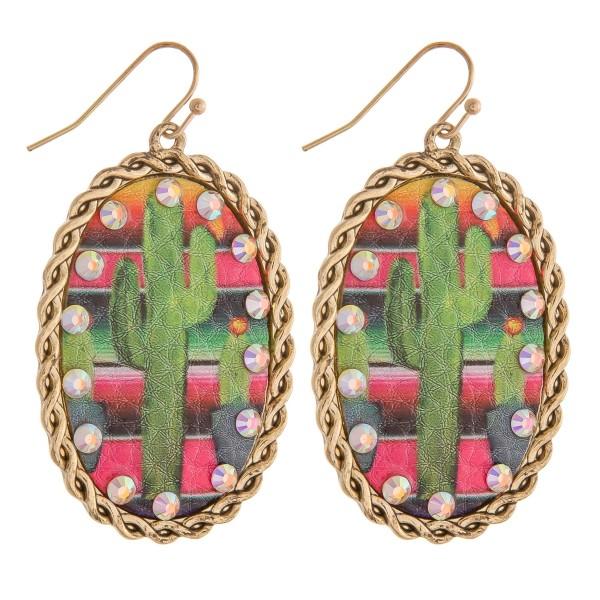 "Faux leather cactus printed serape rhinestone metal drop earrings.  - Approximately 2.5"" in length"
