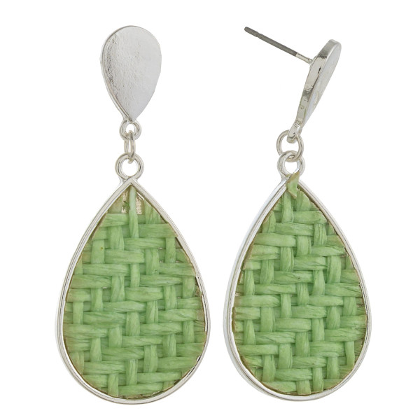 "Raffia rattan woven teardrop earrings. Approximately 1.5"" in length."
