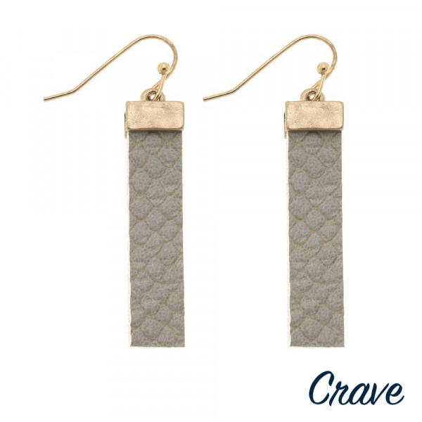 """Faux leather bar earrings featuring snakeskin details. Approximately 1.5"""" in length."""