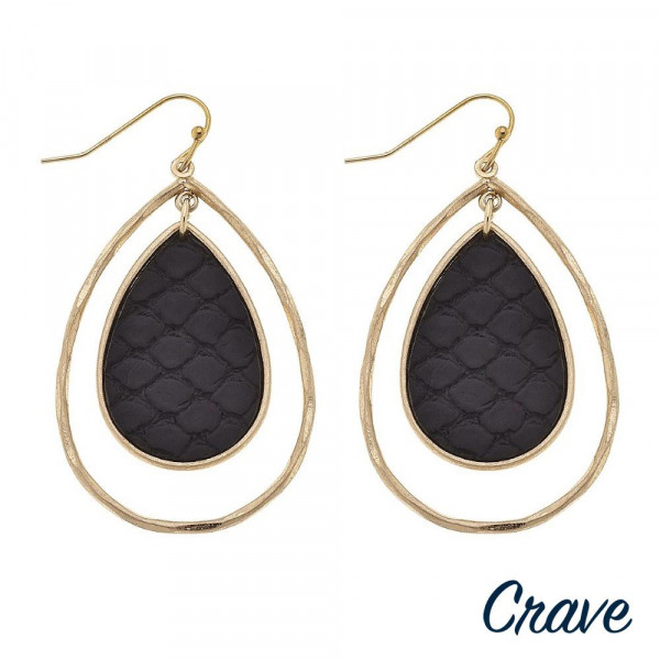 """Gold metal teardrop earrings featuring a center teardrop accent with faux leather snakeskin details. Approximately 2"""" in length."""