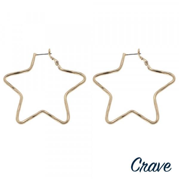 """Metal star hoop earrings. Approximately 2"""" in length."""