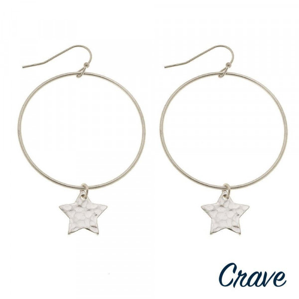"Round metal earrings featuring star accents. Approximately 2"" in length."