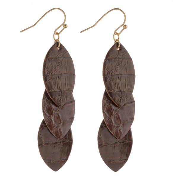 "Faux leather snakeskin drop earrings. Approximately 2.5"" in length."