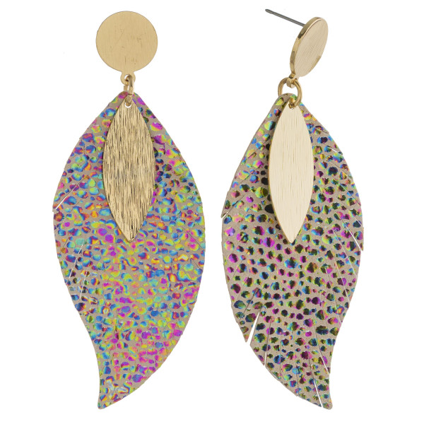 "Faux leather feather inspired earrings featuring animal print details and gold accents. Approximately 3"" in length."