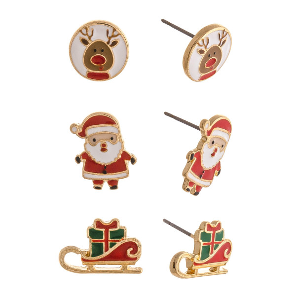 """Christmas stud earring set featuring three pair with Santa Claus, sleigh and reindeer enamel details. Approximately .5"""" in size."""