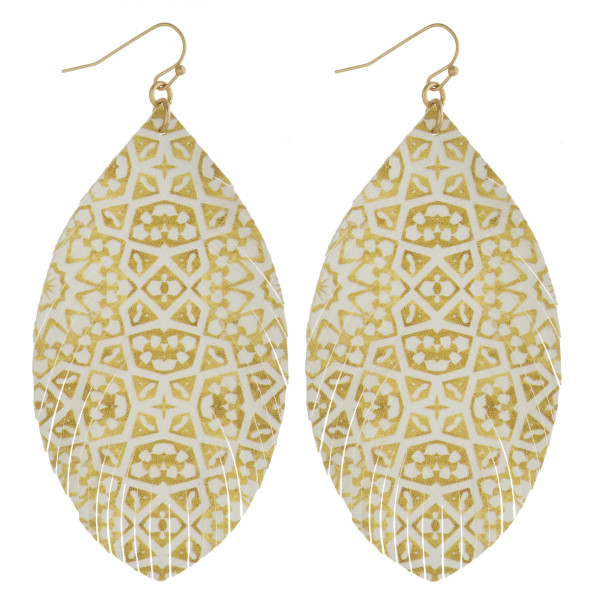 """Faux leather feather geometric print earrings. Approximately 3.5"""" in length."""