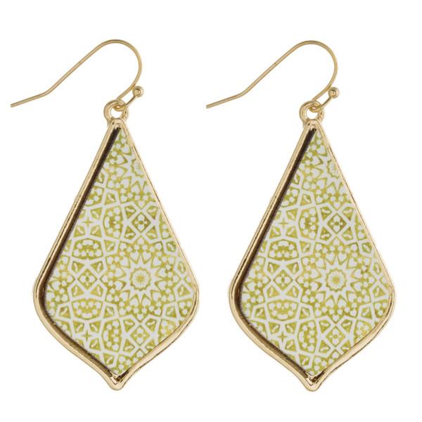 "Geometric wood moroccan drop earrings. Approximately 2"" in length."