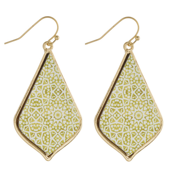 "Geometric wood moroccan drop earrings. Approximately 2"" in length."