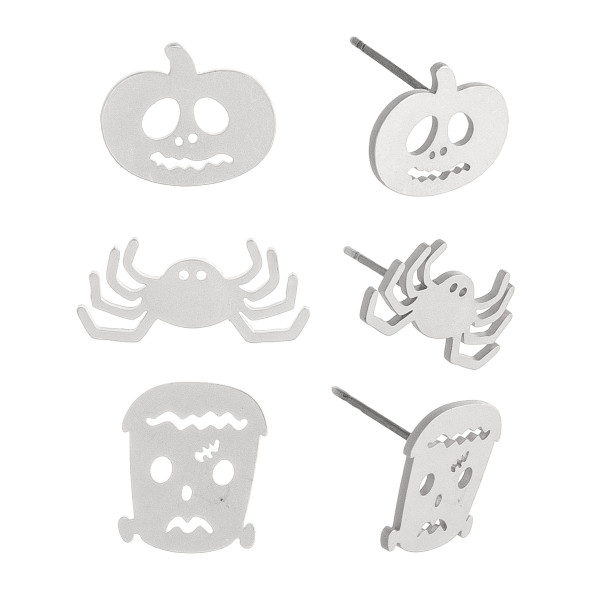 Halloween stud earring set featuring three pairs with pumpkin, spider and frankenstein details. Approximately 1cm in size.