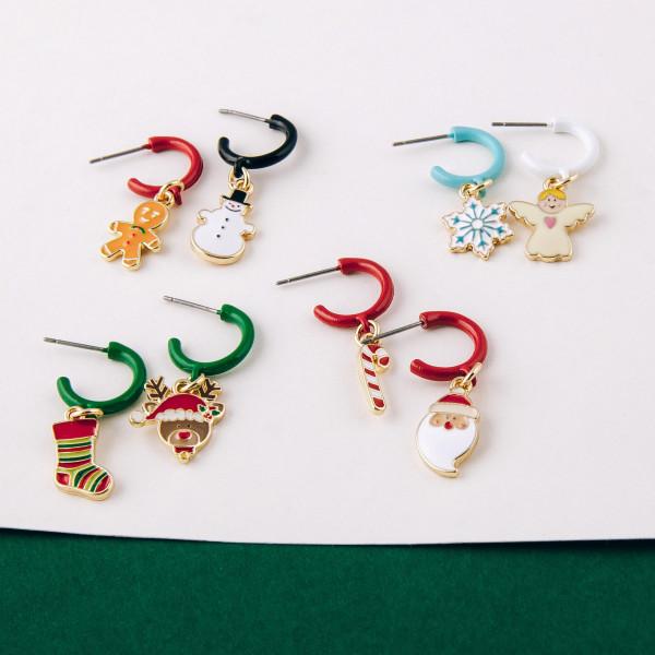 """Enamel coated snowman huggie open hoop earrings.   - Approximately 1"""" in length"""