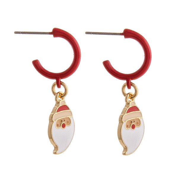 """Enamel coated hoop earring featuring a Santa Claus accent. Approximately 1"""" in length."""