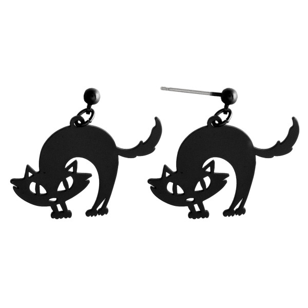 "Metal halloween fright cat earrings. Approximately 1"" in length."