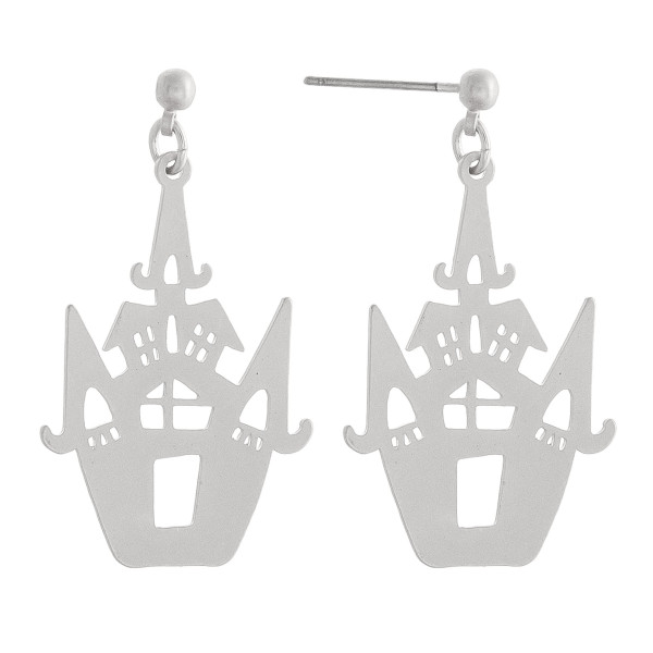 "Metal haunted house halloween earrings. Approximately 1.5"" in length."